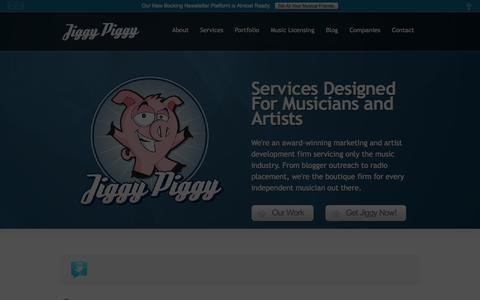 Screenshot of Home Page jiggypiggy.co - Artist Development, Marketing, Music Licensing, and More   Services For Musicians and Artists   Jiggy Piggy - captured Oct. 6, 2014