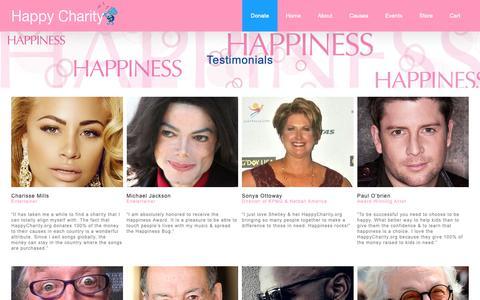 Screenshot of Testimonials Page happycharity.org - Happy Testimonials - Happy Charity Happy Testimonials - captured Oct. 2, 2018