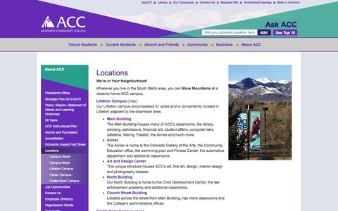 Screenshot of Locations Page arapahoe.edu - Campus Locations for Arapahoe Community College in Colorado, near Denver - captured Sept. 23, 2014