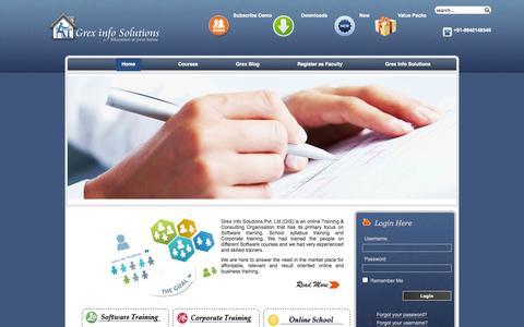 Screenshot of Home Page grexinfosolutions.com - GrexInfoSolutions - captured Sept. 30, 2014