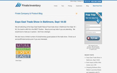 Screenshot of Blog finaleinventory.com - Inventory Management System Software, Retail Stock Tracking Software - captured Sept. 23, 2014