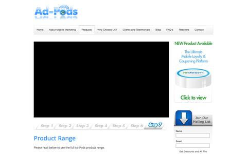 Screenshot of Products Page ad-pods.com - Product Range Overview | Bluetooth Products | Ad-pods - captured Oct. 4, 2014