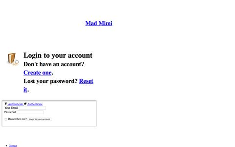Screenshot of Login Page madmimi.com - Sign In To Your Mad Mimi Account :      Create, send, & track emails with Mad Mimi - captured March 6, 2018