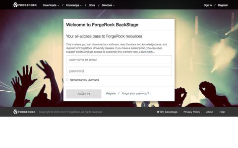 Screenshot of Login Page forgerock.com - Sign in - ForgeRock BackStage - captured March 15, 2017