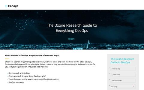 Screenshot of Landing Page panaya.com - The Dzone Research Guide to Everything DevOps - captured Sept. 12, 2018