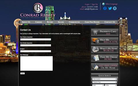 Screenshot of Contact Page crpink.com - Contact Us - Frisco Real Estate, Plano Homes, Prosper Investment Property - Conrad Realty - captured Oct. 3, 2014