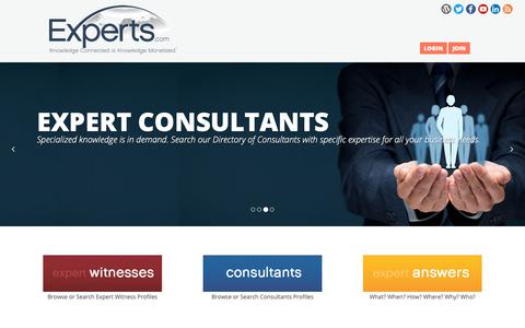 Screenshot of Home Page experts.com - Expert Witness Directory, Consultants Directory, Expert Witness and Consultant Articles, CVs, Books - captured Dec. 16, 2018