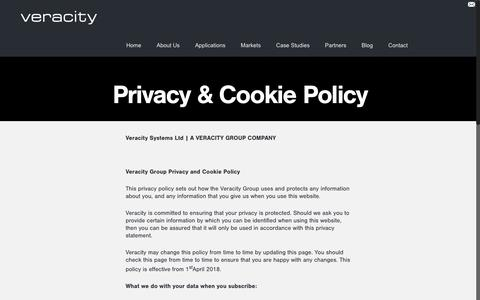 Screenshot of Privacy Page i-comply.co.uk - Contact Us | Control Room Software | VeracityVeracity Systems Ltd - captured Oct. 13, 2018