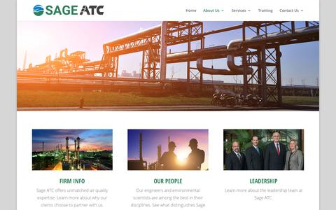 Screenshot of About Page sageenvironmental.com - About | SAGE ATC - captured Jan. 18, 2018