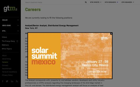 Screenshot of Jobs Page greentechmedia.com - About   Greentech Media - captured Dec. 4, 2015