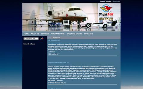 Screenshot of Testimonials Page shipitaogllc.com - Ship It AOG, LLC - Testimonials - captured Oct. 7, 2014