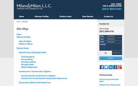 Screenshot of Site Map Page milam-law.com - Site Map :: Mobile Personal Injury Attorney Milam & Milam, L.L.C. - captured Nov. 28, 2016