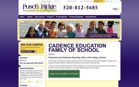 Screenshot of Jobs Page puschridgepreschool.com - Teaching Jobs in AZ   Pusch Ridge Preschool and Kindergarten - captured July 19, 2016