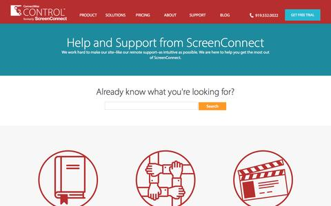 Screenshot of Trial Page Support Page screenconnect.com - Online Support for ScreenConnect Remote Support Tool - captured Nov. 13, 2016