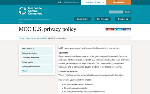 Screenshot of Privacy Page mcc.org - MCC U.S. privacy policy | Mennonite Central Committee U.S. - captured Nov. 28, 2016