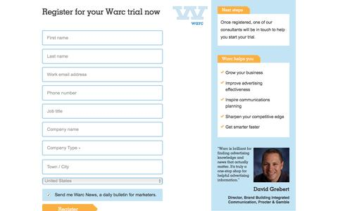 Screenshot of Trial Page warc.com - Register for your Warc trial now - captured Aug. 11, 2016