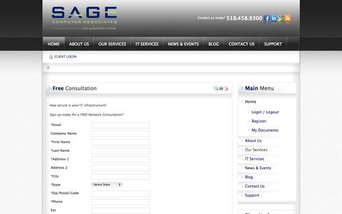 Screenshot of Signup Page sagecomputer.com - Free Consultation | SAGE Computer Associates - captured Oct. 3, 2014