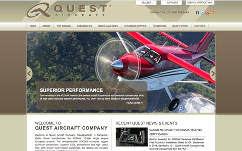 Screenshot of Home Page questaircraft.com - Quest Aircraft | Creators of the KODIAK - captured Oct. 3, 2014