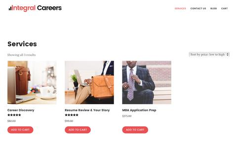 Screenshot of Services Page integralcareers.com - Products - captured June 7, 2017