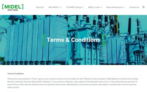 Screenshot of Terms Page midel.com - Terms & Conditions | MIDEL Worldwide - captured Nov. 15, 2018