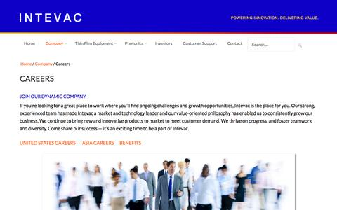 Screenshot of Jobs Page intevac.com - Careers at Intevac Corporation - Great Opportunities - captured Aug. 6, 2016