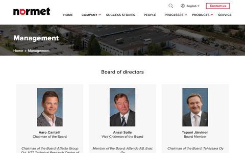 Screenshot of Team Page normet.com - Management - Normet - captured Nov. 16, 2018