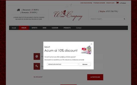 Screenshot of Login Page wineandcompany.ro - Wine & Company - captured Feb. 14, 2016