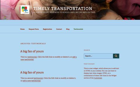 Screenshot of Testimonials Page wordpress.com - Testimonials – Timely Transportation - captured Nov. 13, 2017