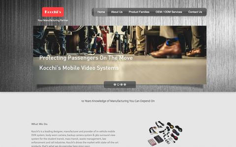 Screenshot of Home Page kocchis.com - Kocchi's - Mobile DVR System   Body Worn Camera   Backup Camera - captured Oct. 15, 2018