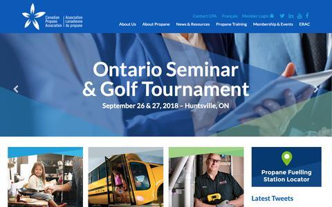 Screenshot of Home Page propane.ca - Propane Homepage - Canadian Propane Association - captured Sept. 26, 2018