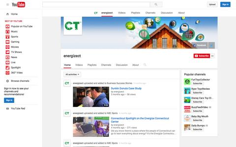 Screenshot of YouTube Page youtube.com - energizect  - YouTube - captured Nov. 13, 2015