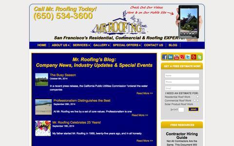 Screenshot of Blog mrroofing.net - Mr. Roofing Blog | Mr. Roofing Inc. - captured Oct. 9, 2014