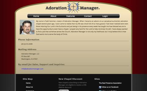 Screenshot of Contact Page adorationmanager.com - Adoration Manager - captured Oct. 4, 2014