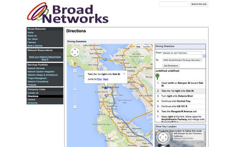 Screenshot of Maps & Directions Page broad-networks.com - Directions - Broad Networks - captured Oct. 5, 2014