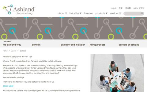 Screenshot of Jobs Page ashland.com - Ashland | Careers - captured June 20, 2018