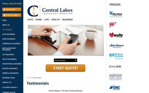 Screenshot of Testimonials Page centrallakesinsurancebrokers.com - Central Lakes Insurance Brokers | Testimonials - captured Oct. 22, 2018