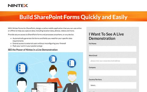 Screenshot of Landing Page nintex.com - Build SharePoint Forms Quickly and Easily- Nintex - captured Aug. 17, 2016