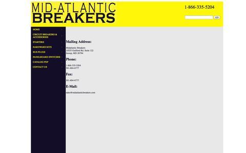 Screenshot of Contact Page midatlanticbreakers.com - MidAtlantic Breakers - captured Oct. 27, 2014