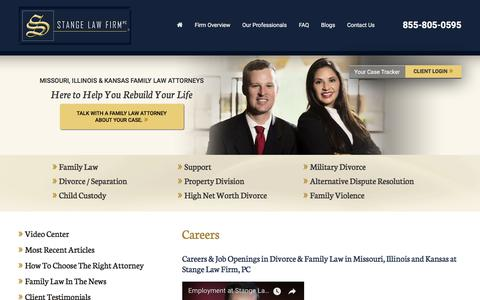Screenshot of Jobs Page stangelawfirm.com - Careers in Divorce & Family Law | St. Louis & Kansas City - captured Nov. 4, 2017