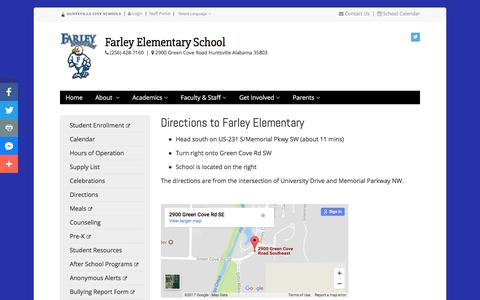 Screenshot of Maps & Directions Page huntsvillecityschools.org - Directions to Farley Elementary | Farley Elementary | Huntsville City Schools - captured Dec. 16, 2017