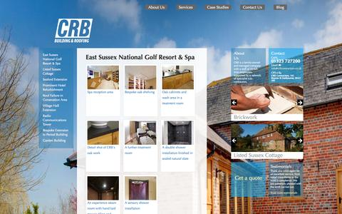 Screenshot of Case Studies Page crbcontractors.co.uk - CRB Building and Roofing Ltd - East Sussex National Gold Resort and Spa - captured Oct. 1, 2014