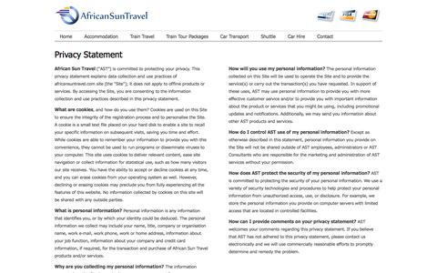 Screenshot of Privacy Page africansuntravel.com - Privacy Statement | African Sun Travel - captured Oct. 4, 2014