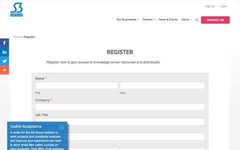 Screenshot of Signup Page s3group.com - Register with S3 Group - captured July 13, 2018