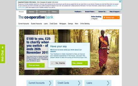 Screenshot of Home Page co-operativebank.co.uk - The Co-operative Bank | Personal banking | Online banking - captured Nov. 11, 2015