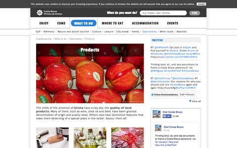 Screenshot of Products Page costabrava.org - Products | Gastronomy | Costa Brava Girona Pyrenees - captured Sept. 23, 2014