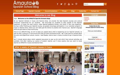 Screenshot of Blog amautaspanish.com - AMAUTA Spanish School Blog - captured Sept. 19, 2014