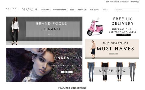 Screenshot of Home Page miminoor.com - Mimi Noor | Specialists in premium denim and casual wear. Stock leading brands of jeans, tops, skirts, dresses, outerwear and a range of accessories. Free UK postage. - captured Oct. 7, 2014