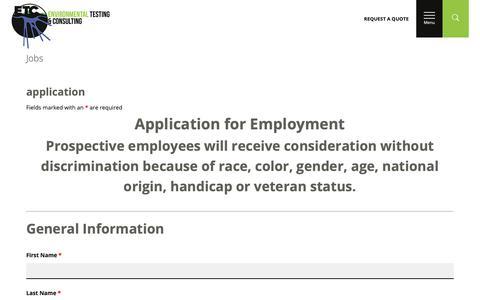 Screenshot of Jobs Page 2etc.com - Jobs – Environmental Testing & Consulting - captured Sept. 28, 2018