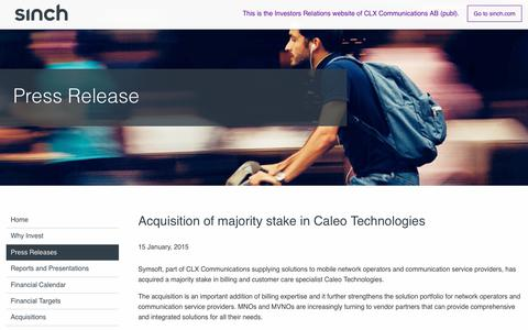 Screenshot of Press Page sinch.com - Majority Stake in Caleo Technologies | Sinch IR - captured June 13, 2019