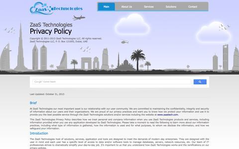 Screenshot of Privacy Page zaastech.com - ZaaS Technologies - captured Oct. 7, 2014
